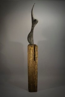 """First Son of Sixth Son 72"""" x 7"""" x 4"""" Gypsum, Pigments, Wood"""