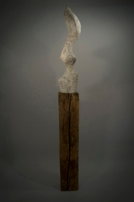 "Sentinel 86"" x 8"" x 8.5"" Gypsum, Pigments, Wood"