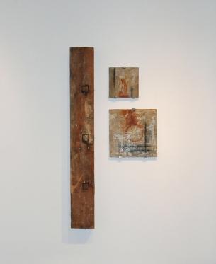 """Structure 60"""" x 29"""" x 4"""" Wood, Concrete, Pigments"""