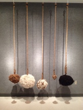 "'Reflections We Are' Sheep wool, alpaca fleece, wood ash, hemp rope, metal thread; Height dependent upon ceiling x 6"" x 16"""